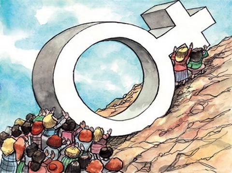 женщины тащат на гору знак мужчин